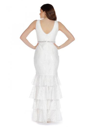 Pierre Cardin Dantelli Eteği Katlı Uzun Abiye Elbise Ekru